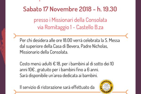 Volantino cena 17 novembre 2018